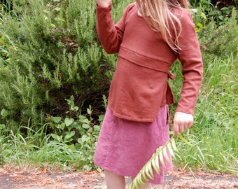 Organic cotton and Hemp Top for girls Handmade and dyed to Order
