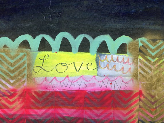 Love always wins -- Neon, Gold, Pink, Red, Green, Black, White, Chevron, Pattern -- New 2013 Original Abstract Modern Painting -- 18x24 in.