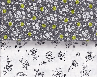 Alice Kennedy Doodle Duo- Timeless Treasures cotton quilt fabric - half yard bundle, floral fabric, grey flower fabric, white flower fabric