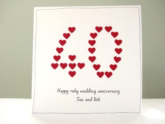Gifts For A Ruby Wedding Anniversary: Ruby Wedding Anniversary Card Personalised By FluffyDuck