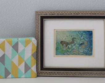 Mermaid Gift Box Original Art Handmade Print Belinda DelPesco Free Shipping