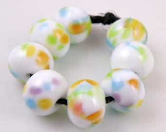 Folk Song - Handmade Artisan Lampwork Glass Beads 8mmx12mm - Green, Blue, Gold, White - SRA (Set of 8 Beads)