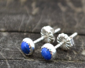 lapis and sterling silver tiny stud earrings