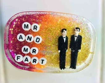 Wedding Gag Gift, Gay Wedding Gift: Mr and Mr Fart - Art For Your Shower, Made to Order