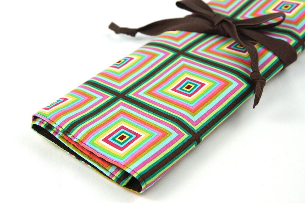 Knitting Organizer Case : Knitting needle case kaleidoscope in stock brown pockets