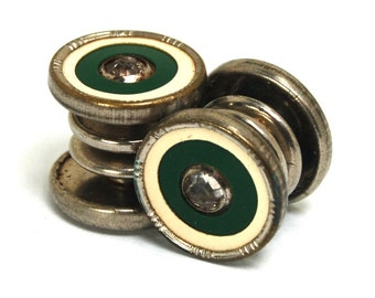 Antique Art Deco Snap Cufflinks Double Sided Silver Toned Green Cream Celluloid Rhinestone Cuff Links Circa 1920