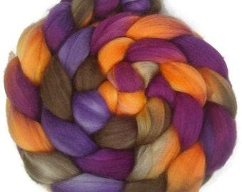 Handpainted Superwash Merino Nylon 80/20 Sock Roving - 4 oz. CROCUS - Spinning Fiber