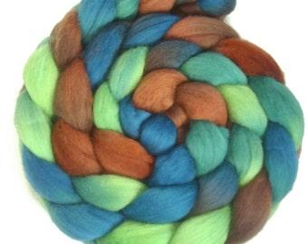 Handpainted Superfine Merino Wool Roving - 4 oz. MALLARD - Spinning Fiber