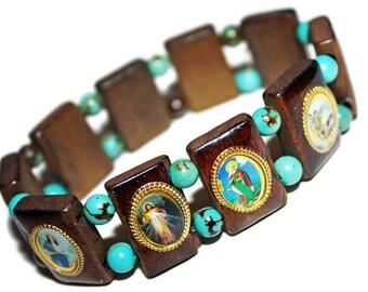 Catholic Saints Wooden Turquoise Charm Bracelet