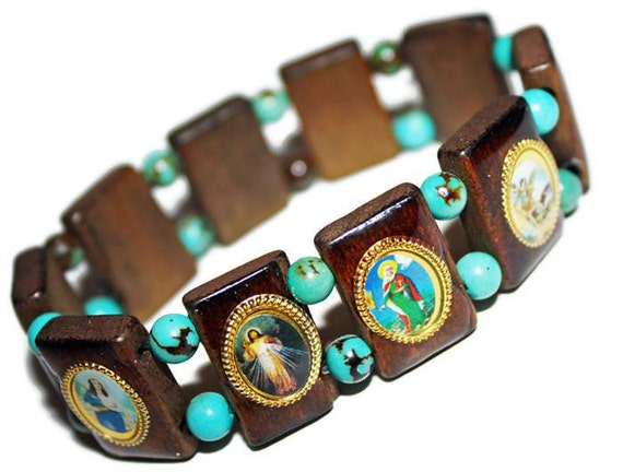 catholic saints bracelet catholic saints wooden turquoise charm bracelet 422