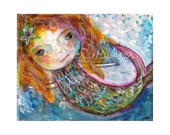 little orange mermaid (reproduction print)