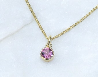 Pink Tourmaline Necklace - Eco-friendly 18k Gold - Handmade in the UK - In Stock - October Birthstone