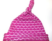 Pink and White Striped Chevron Infant Cap Newborn Baby Hat Beanie