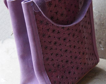 Mauve Leather with Cut-Outs Lunch bag (or purse or small tote bag)