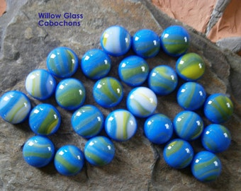 Fused Glass Cabochons, 26 Blue Yellow White Glass Cabs for DIY Jewelry Design, Willow Glass