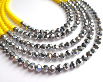 The Tamron- Yellow Czech and Silver Glass Statement Necklace