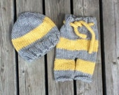 Grey and yellow hat and pants set