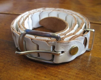 White Leather Belt- Vintage Leather Belt- Womens Leather Belt- Womens Accessories- Boho Leather Belt- White Womens Belt- Vintage White Belt