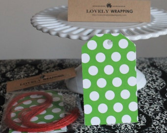 Kelly Green and white polka dot tags - set of 12