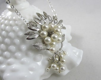 Vintage Pearl Brooch Upcycled Necklace - Sterling Brooch Necklace