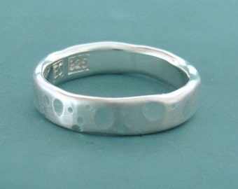 Recycled Sterling Silver Wedding Ring, Shoreline, Choose a Width