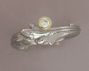 Twig Engagement Ring in Palladium 950 and 18k Gold with Moissanite - Oak Twig - Recycled Metals