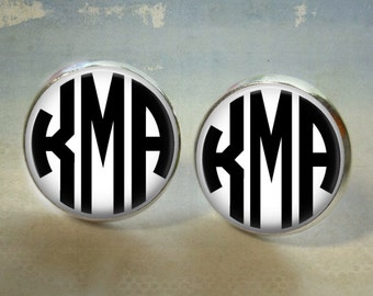 Personalized Custom Monogram Earrings -12mm Silver Button Stud Earrings