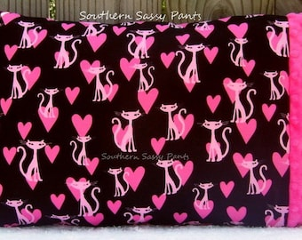 Toddler Pillow Case - Toddler Girl Pillowcase ONLY - Bling Kitty and Minky Pillow Case - ON SALE, In Stock and Ready To Ship