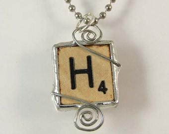 Scrabble Letter H Pendant Necklace