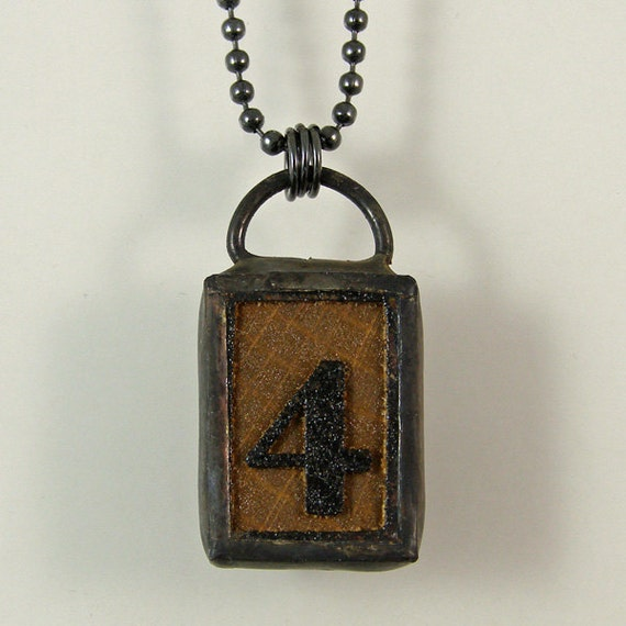 number 4 pendant necklace by xohandworks on etsy
