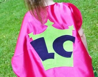 Superhero Cape Personalized Custom Superhero Costume Kid Capes w/  2 letters Customizable