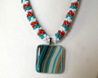 Kumihimo Necklace in Southwest colors, Smokeylady54