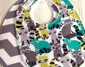 Baby Bibs Boy  -  Set of 2 Chenille Baby Bibs  - Triple Layer Design   -  Raccoon Woodland Friends & Grey Chevron