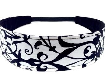 Headband Reversible Fabric - Black and White Floral Vines  -  Headbands for Women - BLACK & WHITE VINES