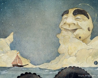 Old Man Moon In A Slumberous Grace Above The Salt Sea - Special Edition Remarqued Giclee
