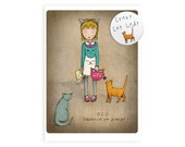 Crazy cat lady greetings card - crazy cat lady card and badge ocd obsessive cat disorder birthday