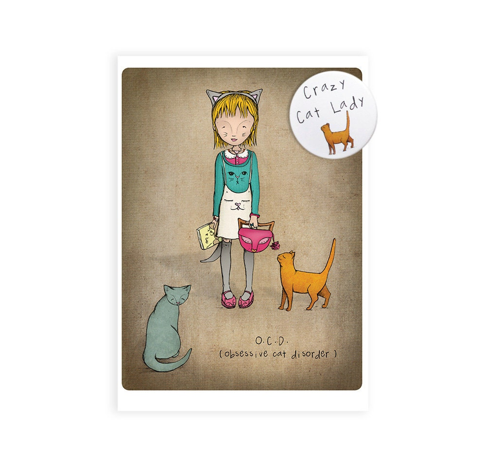 Crazy cat lady greetings card crazy cat lady card and badge – Lady Birthday Card
