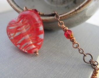 Red Heart, Heart Necklace, Red Love Heart, Glass Necklace, Copper Necklace, Copper Chain, Oxidized Copper, Lampwork Glass,