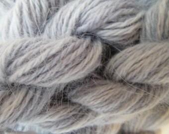 ONE SKEIN  gray 100% angora bunny rabbit fur knitting yarn