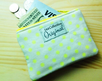 Neon Yellow Polka Dots Coin Purse, Change Purse, Coin Pouch, Small Wallet