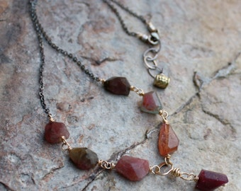 TOURMALINE necklace, mixed metals, sterling silver and gold filled