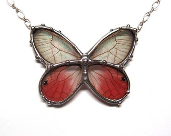 Glasswing Butterfly Necklace - Insect Jewelry