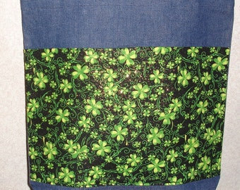 New Handmade Large Sparkly Shamrocks St Patricks Day Denim Tote Bag