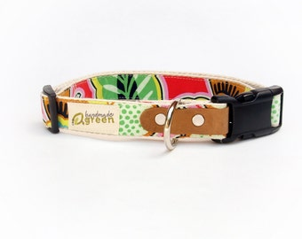 Glamour Floral Couture. Eco Friendly, Hemp Dog Collar. by Handmade Green. Small Medium Large.
