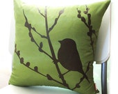 Sale Olive Green Bird on Cherry Blossom  16 inches Square Pillow