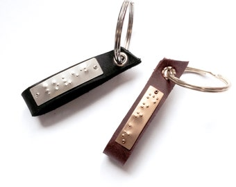 Braille Leather Keyring - daddy,