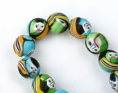 Colorful Indian Millefiori Face Beads OLD 12-13mm  (4 beads)