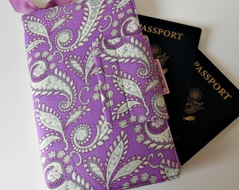 Travel wallet,Passport Organizer Wallet, passport wallet, Purple and Grey Paisley, Ready to Ship