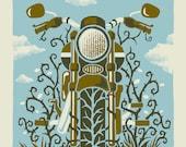 The Motorcycle - Screenprinted Art Print