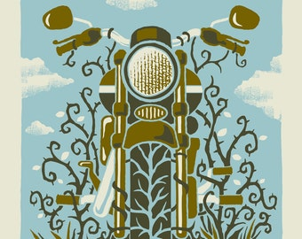 The Motorcycle - Screenprinted Art Print